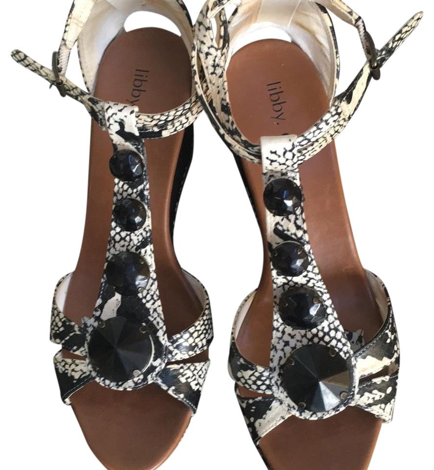 Libby Sandals Edelman Black and Cream Sandals Libby Wedges 327ee9