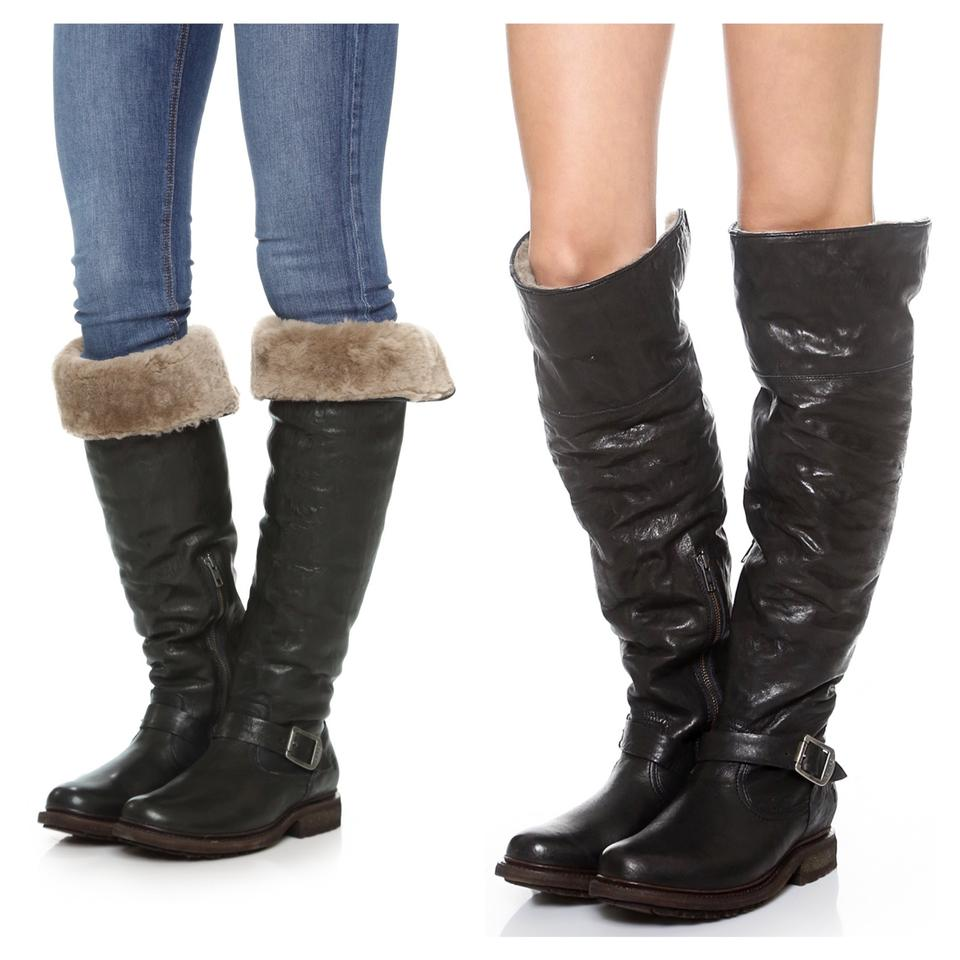 7f35173cb2b Frye Dark Brown Valerie Shearling Over The Knee Boots Booties Size ...