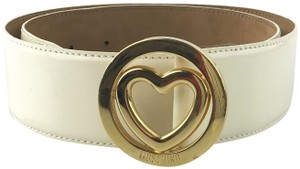 Moschino Heart Buckle Patent Leather Belt