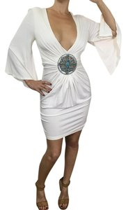Banana U.S.A Turquoise Medallion Crystals Flowy Plunging Neckline Dress