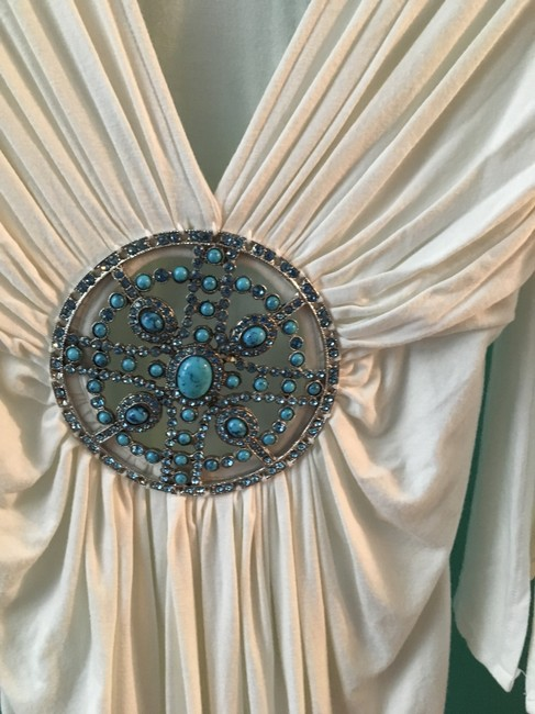 Banana U.S.A Turquoise Medallion Crystals Flowy Plunging Neckline Dress Image 3