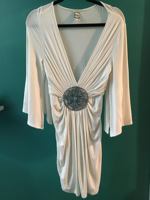 Banana U.S.A Turquoise Medallion Crystals Flowy Plunging Neckline Dress Image 4