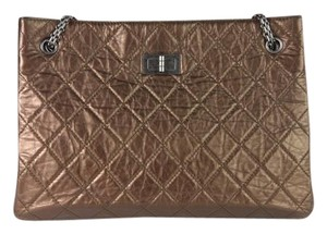 Chanel Leather Crinkle Chain Tote in Bronze