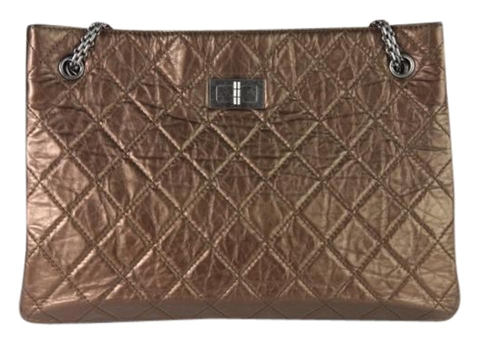 6a1568d710ac Chanel 2.55 Reissue Metallic Brown Crinkled Large Bronze Leather Tote