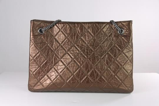 Chanel Leather Crinkle Chain Tote in Bronze Image 1