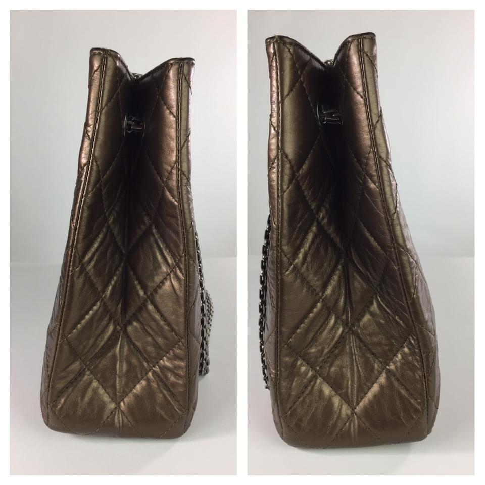 4889a46828eb Chanel 2.55 Reissue Metallic Brown Crinkled Large Bronze Leather Tote -  Tradesy