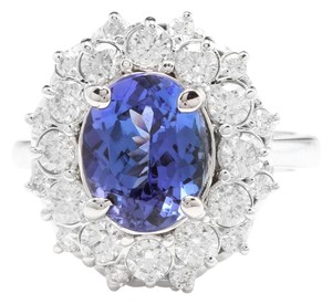 Other 3.80 Carats NATURAL TANZANITE and DIAMOND 14K Solid White Gold Ring