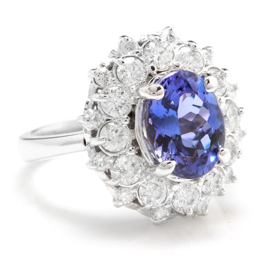 Other 3.80 Carats NATURAL TANZANITE and DIAMOND 14K Solid White Gold Ring Image 1