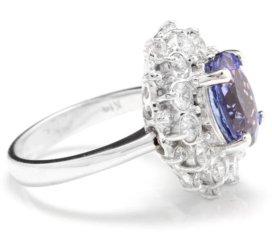 Other 3.80 Carats NATURAL TANZANITE and DIAMOND 14K Solid White Gold Ring Image 2