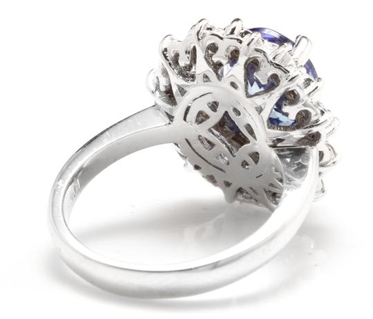 Other 3.80 Carats NATURAL TANZANITE and DIAMOND 14K Solid White Gold Ring Image 3