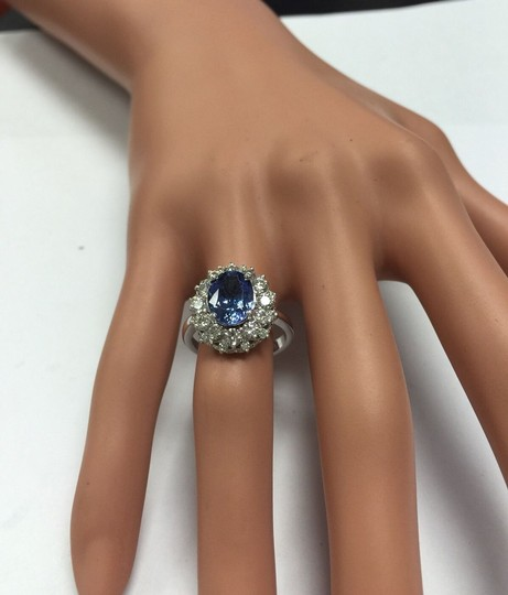 Other 3.80 Carats NATURAL TANZANITE and DIAMOND 14K Solid White Gold Ring Image 5