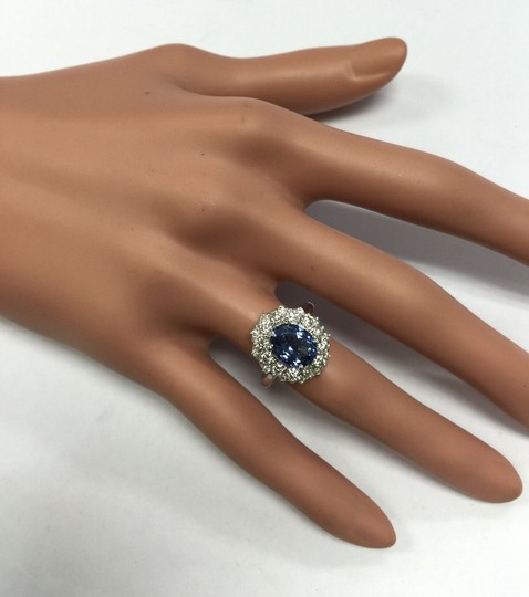 Other 3.80 Carats NATURAL TANZANITE and DIAMOND 14K Solid White Gold Ring Image 6