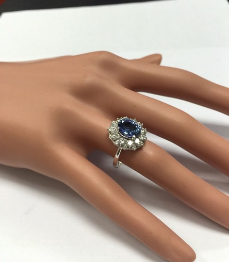 Other 3.80 Carats NATURAL TANZANITE and DIAMOND 14K Solid White Gold Ring Image 7