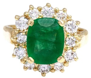 Other 4.00 Carats Natural Emerald & Diamond 14K Solid Yellow Gold Ring
