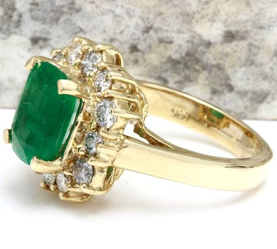 Other 4.00 Carats Natural Emerald & Diamond 14K Solid Yellow Gold Ring Image 1