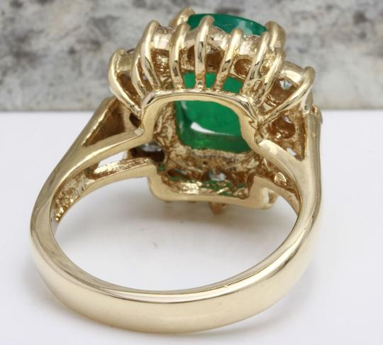 Other 4.00 Carats Natural Emerald & Diamond 14K Solid Yellow Gold Ring Image 2