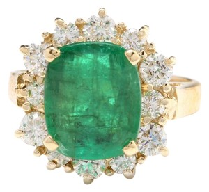 Other 4.50 Carats Natural Emerald & Diamond 14K Solid Yellow Gold Ring