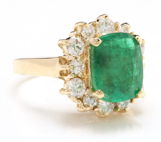 Other 4.50 Carats Natural Emerald & Diamond 14K Solid Yellow Gold Ring Image 1