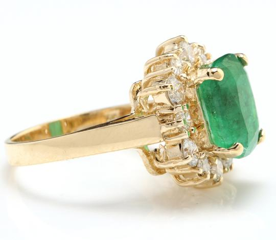 Other 4.50 Carats Natural Emerald & Diamond 14K Solid Yellow Gold Ring Image 2