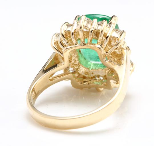 Other 4.50 Carats Natural Emerald & Diamond 14K Solid Yellow Gold Ring Image 3