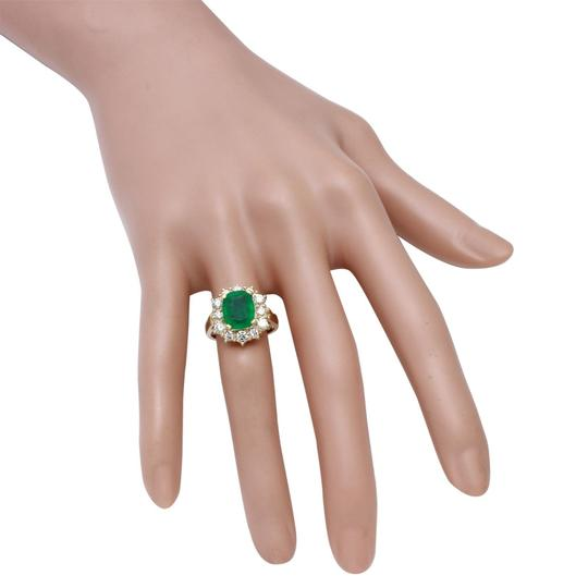Other 4.50 Carats Natural Emerald & Diamond 14K Solid Yellow Gold Ring Image 4