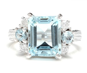 Other 4.80 Carats NATURAL AQUAMARINE and DIAMOND 14K Solid White Gold Ring