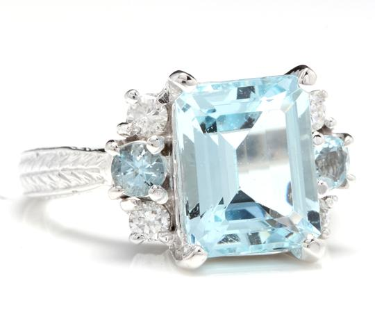 Other 4.80 Carats NATURAL AQUAMARINE and DIAMOND 14K Solid White Gold Ring Image 1