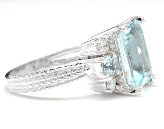 Other 4.80 Carats NATURAL AQUAMARINE and DIAMOND 14K Solid White Gold Ring Image 2