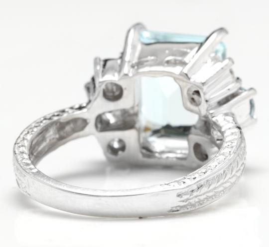 Other 4.80 Carats NATURAL AQUAMARINE and DIAMOND 14K Solid White Gold Ring Image 3
