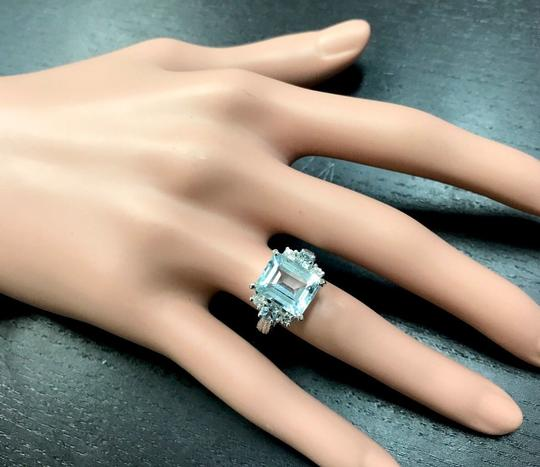 Other 4.80 Carats NATURAL AQUAMARINE and DIAMOND 14K Solid White Gold Ring Image 4