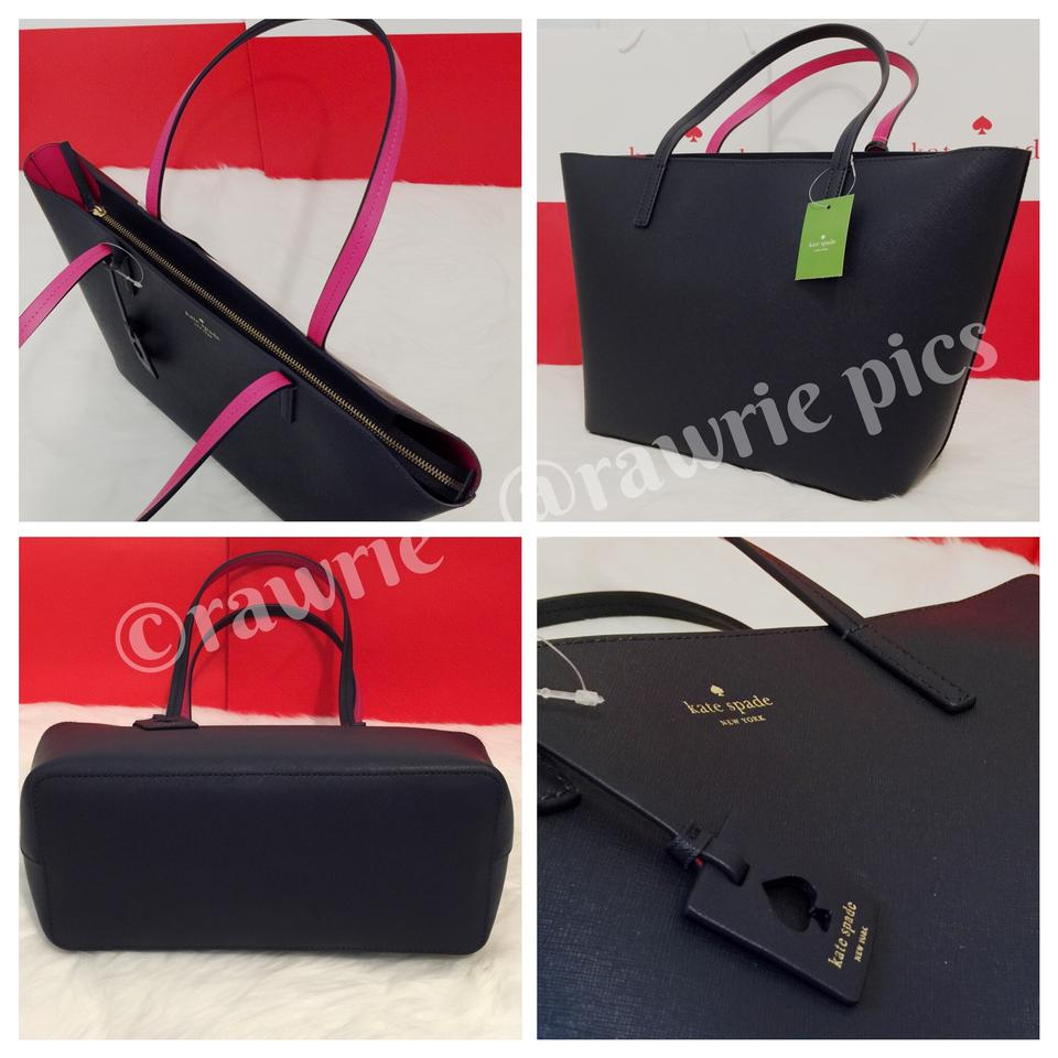 ba1b436e9968 Kate Spade Large Leather Shoulder Saffiano Leather Tote in Navy. 12345
