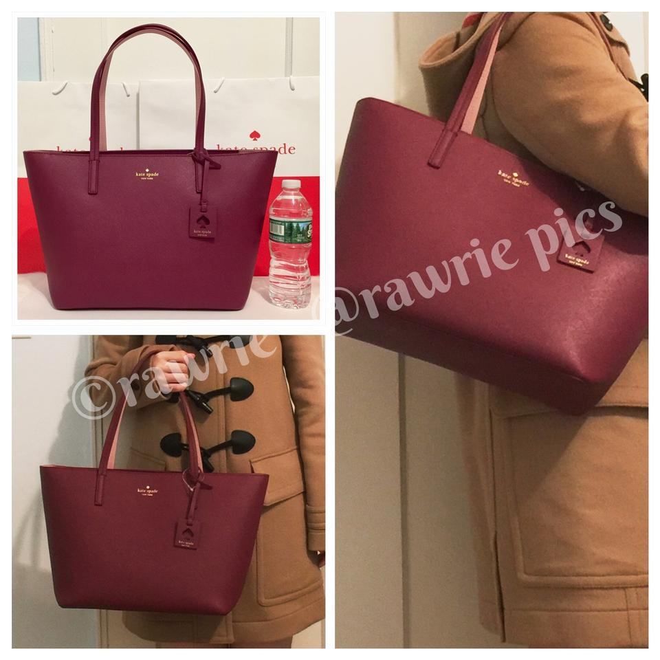 c4892b7aa350 Kate Spade Scott s Place Lida Merlot Saffiano Zip Top Tote Burgundy Leather  Shoulder Bag
