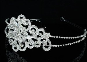 Vintage Floral Crystal Side Accented Wedding Bridal Tiara Headband