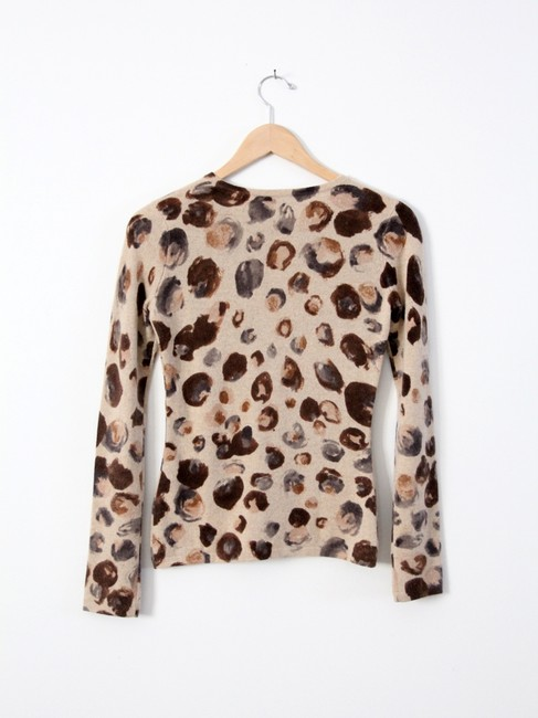 Saks Fifth Avenue Cashmere Animal Print Abstract Sweater
