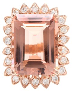 Other 26.80 Carats Natural Morganite and Diamond 14K Solid Rose Gold