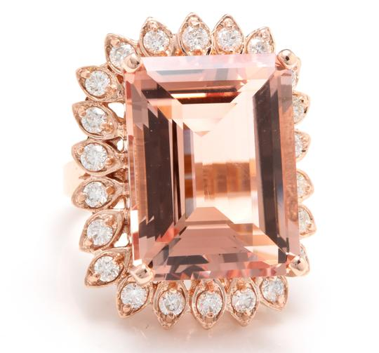 Other 26.80 Carats Natural Morganite and Diamond 14K Solid Rose Gold Image 1