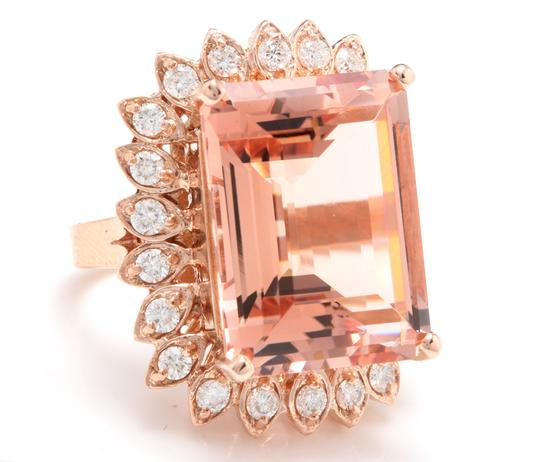 Other 26.80 Carats Natural Morganite and Diamond 14K Solid Rose Gold Image 2