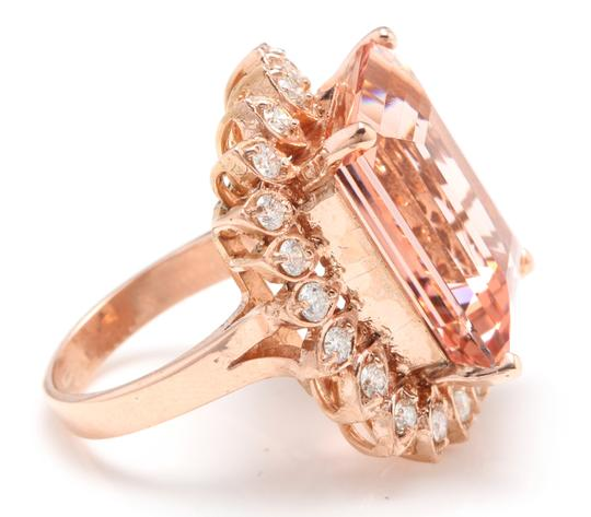 Other 26.80 Carats Natural Morganite and Diamond 14K Solid Rose Gold Image 3
