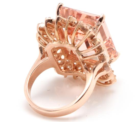 Other 26.80 Carats Natural Morganite and Diamond 14K Solid Rose Gold Image 4