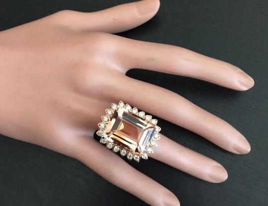 Other 26.80 Carats Natural Morganite and Diamond 14K Solid Rose Gold Image 5