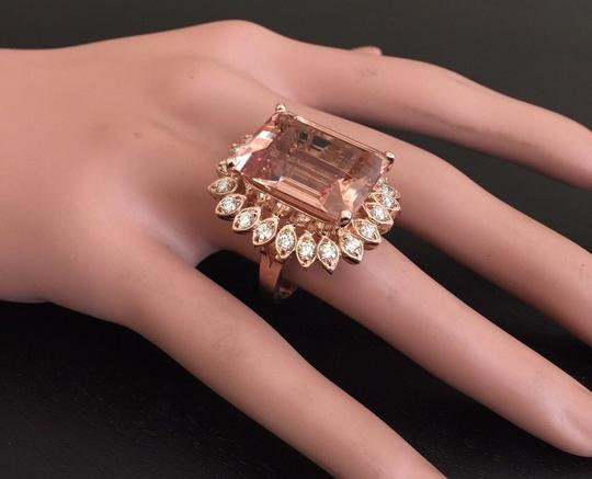 Other 26.80 Carats Natural Morganite and Diamond 14K Solid Rose Gold Image 6