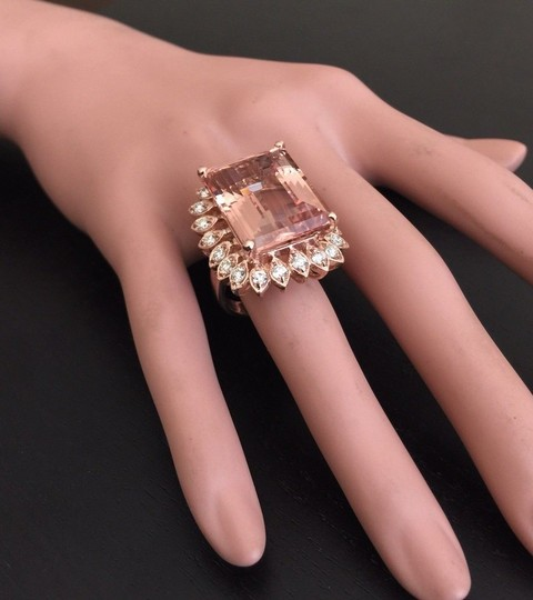 Other 26.80 Carats Natural Morganite and Diamond 14K Solid Rose Gold Image 7