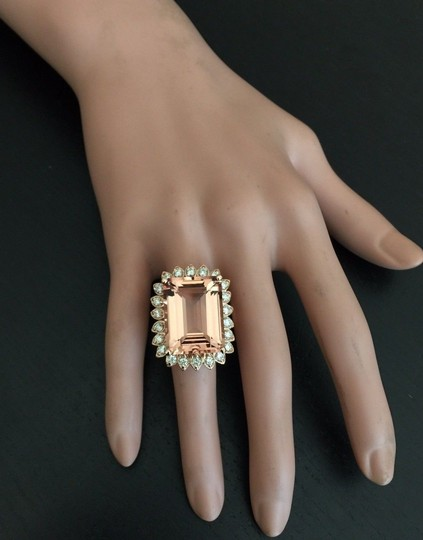 Other 26.80 Carats Natural Morganite and Diamond 14K Solid Rose Gold Image 8