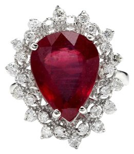 Other 7.90 Carats Natural Ruby and Diamond 14K Solid White Gold Ring