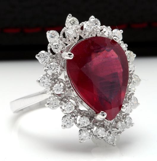 Other 7.90 Carats Natural Ruby and Diamond 14K Solid White Gold Ring Image 1