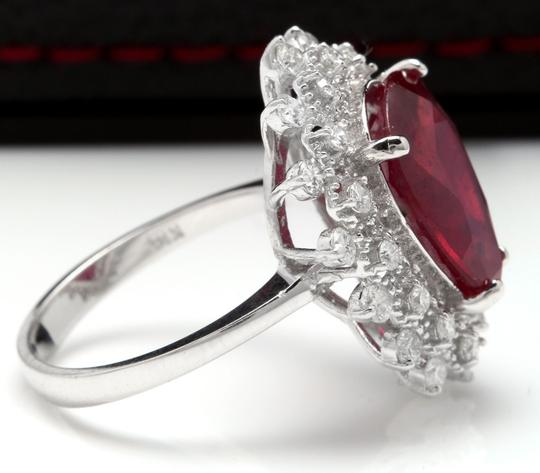 Other 7.90 Carats Natural Ruby and Diamond 14K Solid White Gold Ring Image 2
