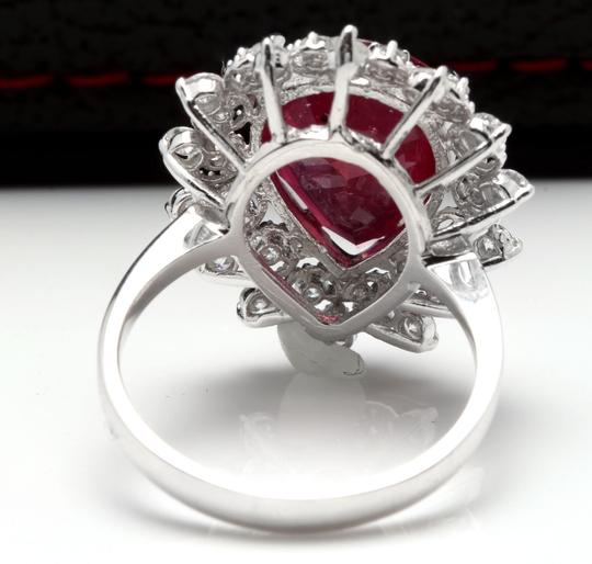 Other 7.90 Carats Natural Ruby and Diamond 14K Solid White Gold Ring Image 3