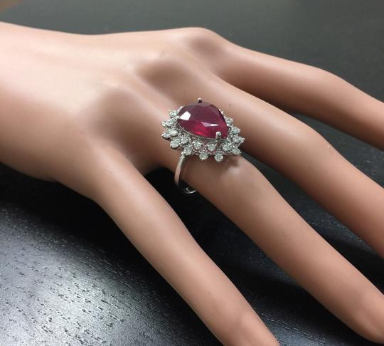 Other 7.90 Carats Natural Ruby and Diamond 14K Solid White Gold Ring Image 5