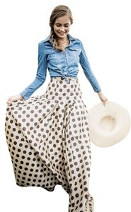 Shabby Apple Flowing Elegant Vintage Style Polka Dot Wedding Country Western Gown Maxi Skirt Golden Beige