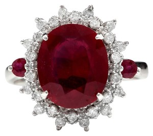 Other 7.75 Carats Natural Red Ruby and Diamond 14K Solid White Gold Ring
